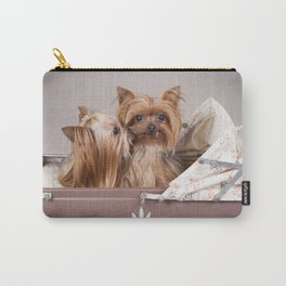 Yorkshire terrier dogs kiss Carry-All Pouch