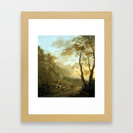 Jan Both Landscape with Resting Travelers and Oxcart Framed Art Print
