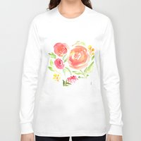 peonies Long Sleeve T-shirts featuring Peonies by Dea Brazil