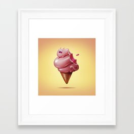 Art Snacks: Ice Cream Cat Framed Art Print