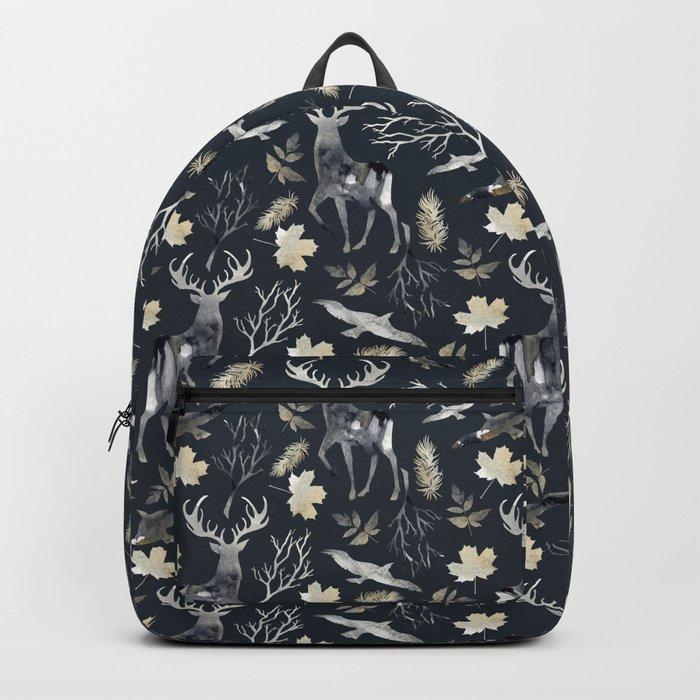 Deer and birds. Dark pattern Backpack
