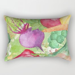 Mixed Vegetables Watercolor Rectangular Pillow