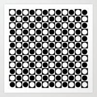 Black and White Squares and Polka Dots  Art Print
