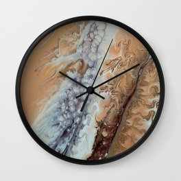 Brown Fluid Abstract Painting Marble Stone Look Texture Wall Clock