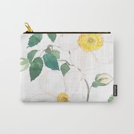 white wild Rosa rubiginosa watercolor Carry-All Pouch