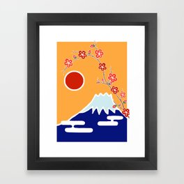 Mount Fuji and Sun Rise Framed Art Print