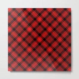 Black and Red Plaid Pattern Metal Print