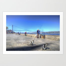 Fishermen And Cats Istanbul Art Print