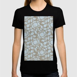 Abstract Distressed Large Flower Print in Sky Blue and Grey Taupe T-shirt