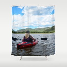Watercolor People in Nature Woman Kayaker 02, All the World's a Stage Shower Curtain