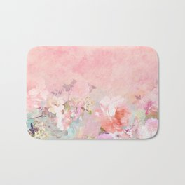 Modern blush watercolor ombre floral watercolor pattern Bath Mat