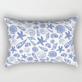 Blue Seashell Print Rectangular Pillow