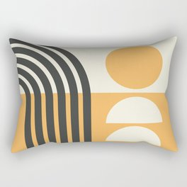 Geometric Lines in Gold and Black 7 (Rainbow and Sunrise Abstract) Rectangular Pillow