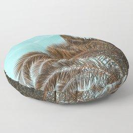 Summer Palm Leaf Print {1 of 3} | Teal Sun Sky Beach Vibes Tropical Plant Nature Art Floor Pillow