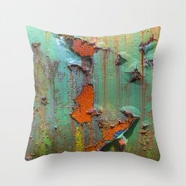 Flaking Paint on Rust Throw Pillow