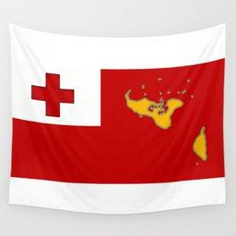 Tonga Flag with Tongan Map Wall Tapestry