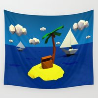 low poly Wall Tapestries featuring Low-Poly Treasure Island by Jorge Antunes