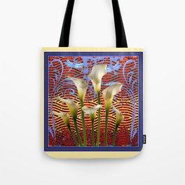 Decorative  Art Nouveau Ivory Lilies Design Tote Bag