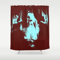 psycho Shower Curtains featuring Psycho by Groovyal
