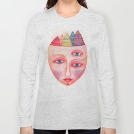 girl with the most beautiful eyes mask portrait Long Sleeve T-shirt