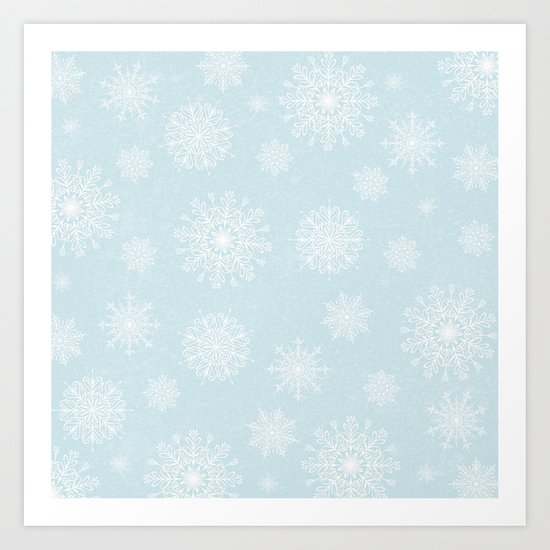Assorted White Snowflakes On Light Blue Background Art Print
