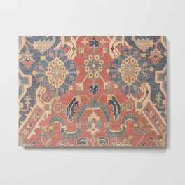 Geometric Leaves V // 18th Century Distressed Red Blue Green Colorful Ornate Accent Rug Pattern Metal Print