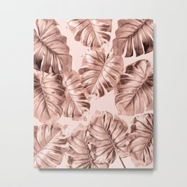Rose Gold Monstera Leaves on Blush Pink 2 Metal Print