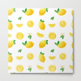 Bittersweet Mellow Bright Yellow Lemon Teeshirt,Yellow sour fruit, High quality lemon pattern, summe Metal Print