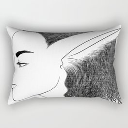 Bunny Girl Line Art Rectangular Pillow