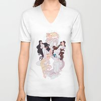 mucha V-neck T-shirts featuring Sailor Mucha by Dixie Leota