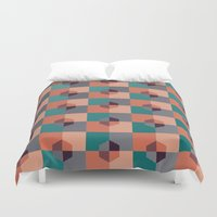 hexagon Duvet Covers featuring Hexagon Pattern by Negin Khatoun