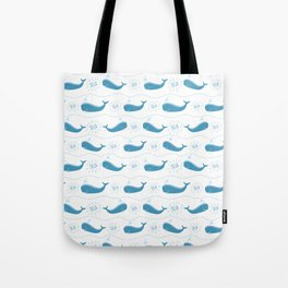 Modern cute nautical blue typography funny whale pattern Tote Bag