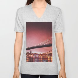 brooklyn bridge at dusk Unisex V-Neck