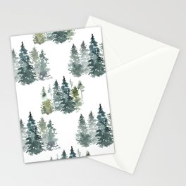 Watercolor Pine Forest on Clean White  Stationery Cards