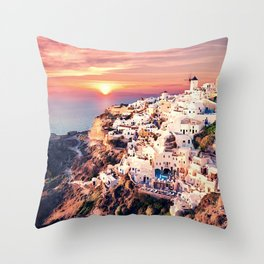 Santorini Sunset View Throw Pillow