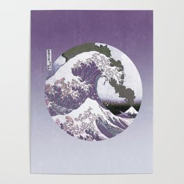 Great Wave Off Kanagawa Mount Fuji Eruption Purple Gradient Poster