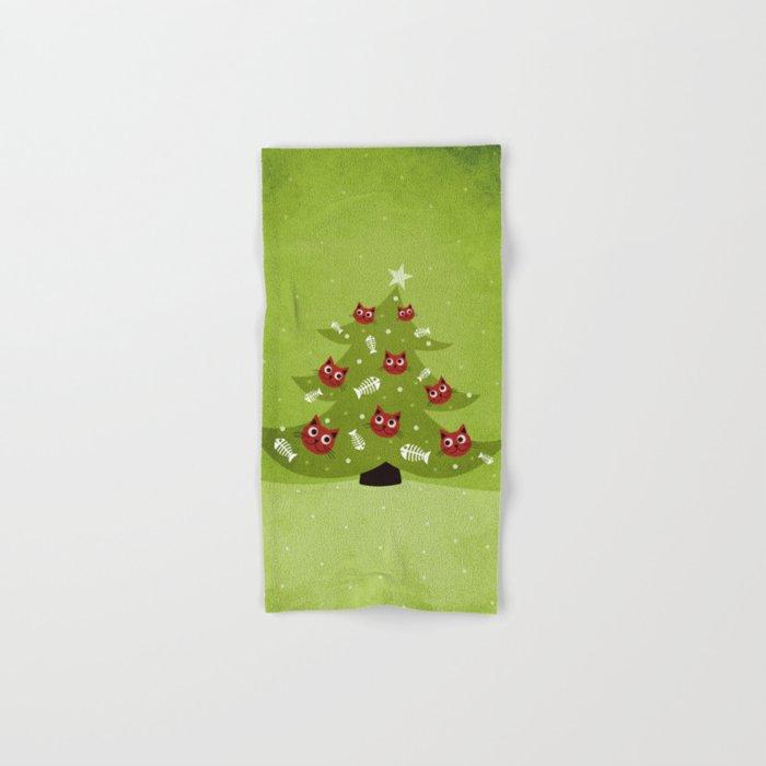 Cat Christmas Tree Hand & Bath Towel
