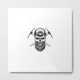 Bearded Mustached Miner Skull Metal Print