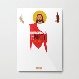 Party Jesus Turns Water Into Wine Metal Print