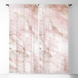 Pink marble - rose gold accents Blackout Curtain
