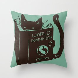 World Domination for Cats (Green) Throw Pillow