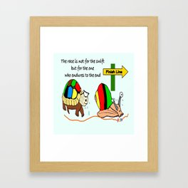THE RACE - the turtle and the snail Framed Art Print