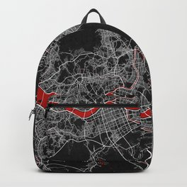 Seoul City Map of South Korea - Oriental Red Backpack