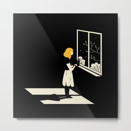 Cute illustration of a girl drinking coffee as she stares out of the window into the beautiful nature Metal Print