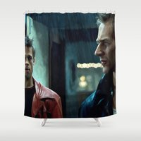 brad pitt Shower Curtains featuring Edward Norton and Brad Pitt by Gabriel T Toro