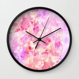 Girly Pink and Purple Painted Sparkly Watercolor Wall Clock