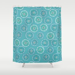 Turquois Oranges Pattern Shower Curtain