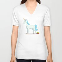poop V-neck T-shirts featuring Unicorn Poop by See Mike Draw