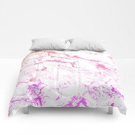 Modern pink purple watercolor white marble pattern Comforters