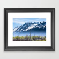 Snowy Mountains and Forest in the Fog, Alaska Framed Art Print
